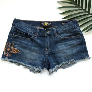 Lucky Brand embroidered Riley jean shorts